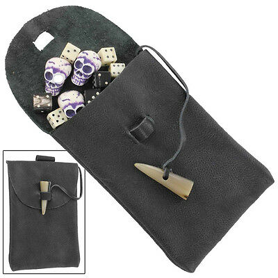 Medieval Bovine Horn Toggle Renaissance Knight Crusader  Leather Belt Pouch