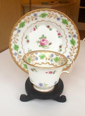 Antique Early 19Th Century Porcelain Cup And Saucer Rose Green  Blue And Gilt