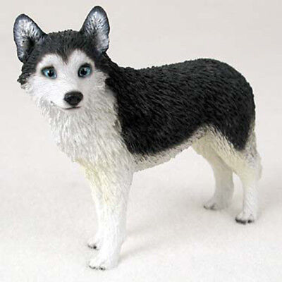 Husky Figurine Hand Painted Collectible Statue Black/Wht Blue Eye