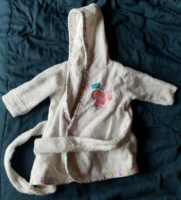 Baby Toddler Infant Bath Robe Hooded Towel With Belt Pink White Elephant