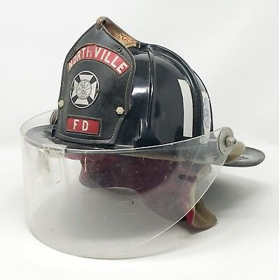 Vintage Cairns 880 Fire Helmet with Plectron Eye Guard and Leather Shield SCP