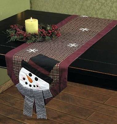 New! ~ SNOWMAN SNOWFLAKE TABLE RUNNER Chase Away Those Wintertime Blues!
