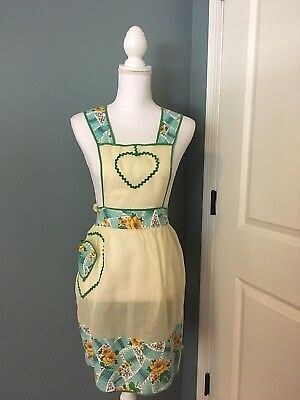 VINTAGE FULL BIB APRON Sheer yellow and bold cotton print--Heart Pocket