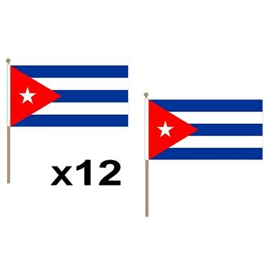 Cuba Small 9x6 Hand Flags- 12 Pack