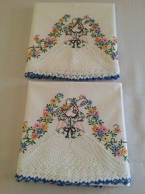 "Pretty Pr. Vintage ""Southern Belle"" Pillowcases Bright Flowers & White Crochet-"