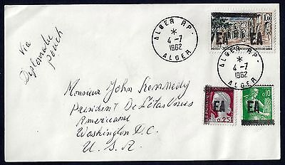 From A Algeria To Us 1962 Ea Overprints On French Issue Alger To Washington Dc