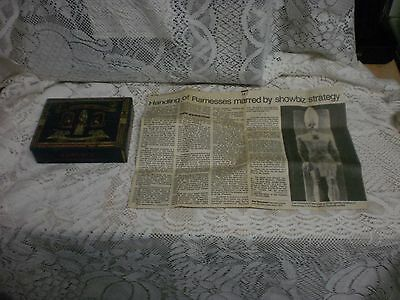 Egyptian Cigarette TIN CASE Stephano Bros Antique Ramesses11 & NEWSPAPER ARTICLE