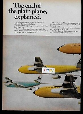 Braniff International 2 Pg The End Of The Plain Plane Jelly Bean 707 Squadron Ad