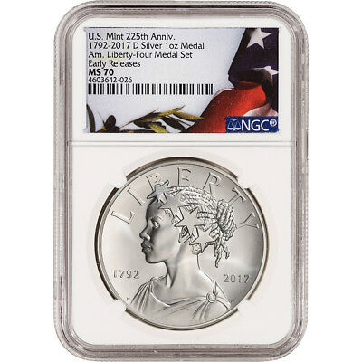 2017-D US American Liberty Silver Medal - NGC MS70 Early Releases Flag Label