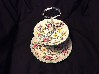 Vtg 2-tiered plate OLD FOLEY Chinese Rose JAMES KENT Staffordshire BONE CHINA