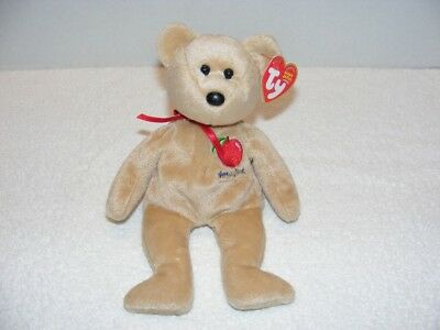 "2004 TY BEANIE BABIES ""BIG APPLE"" NEW YORK BEAR With FLAWS TAG GUC"