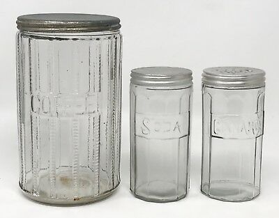 Lot 3 Antique Hoosier Cabinet Coffee Soda Cinnamon Glass Jar Canister SCP