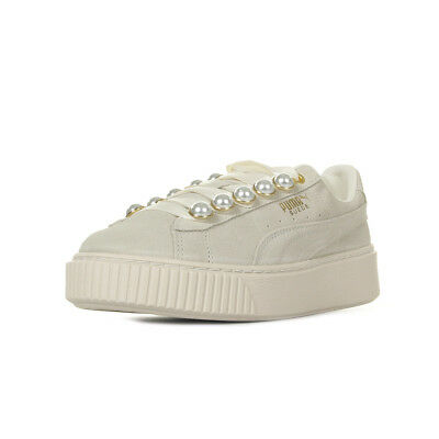 CHAUSSURES BASKETS PUMA femme Suede Platform Bling Wn's taille Beige Cuir Lacets