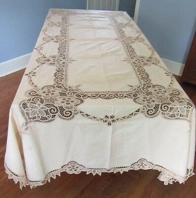 Vintage Floral Embroidery & Pierced Linen & Lace Tablecloth 67 by 120