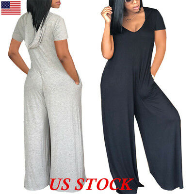 Womens Short Sleeve V Neck Long Jumpsuit Clubwear Party Casual Loose Rompers USA