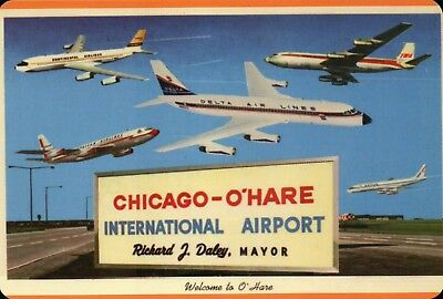 Chicago O'Hare International Airport, Delta Airlines etc., Airplane - Postcard