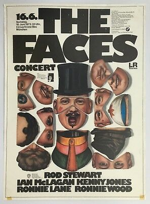 Rod Stewart And The Faces German Concert Poster 1973