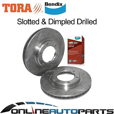 2 Drilled Slotted Front Disc Rotors + Pads suits Toyota 9/92-98 80 Series Bendix