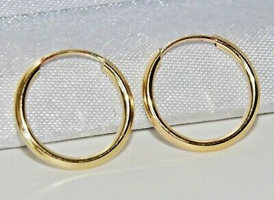 9CT GOLD 12.5mm SLEEPER HOOP EARRINGS - PAIR - SOLID 9CT GOLD