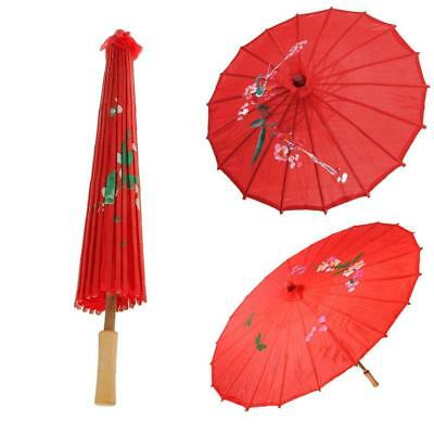 1pc Vintage Red Cloth Umbrella Bamboo Chinese Oriental Style Parasol Home SALE