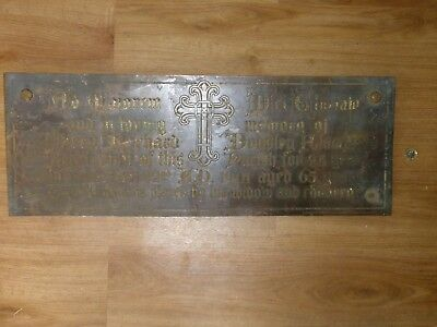 Antique Bronze Church Plaque 1901 Alamsteed Stained Glass