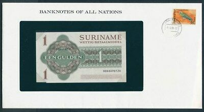 Surinam: 1984 1 Gulden Banknote & Stamp Cover, Banknotes Of All Nations Series