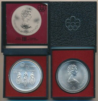 Canada 1974 $10 Olympics - Cycling 925 Silver 48.6g, 1.436oz ASW in Mint Package