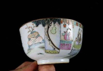 Ancien Bol Porcelaine De Chine Antique Chinese Bowl Famille Rose Red Family 1/2