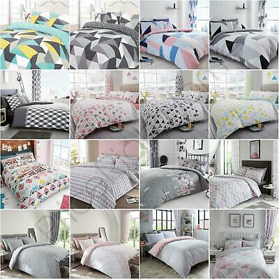 Geometric Bedding Duvet Cover Sets Grey Colourful - Single Double King