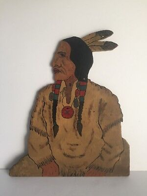 TECUMSEH Indian Warrior Chief Vintage Hand Carved and Painted Wood Plaque