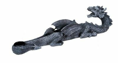 Grey Mythical Dragon Looking Backwards Fantasy Incense Burner