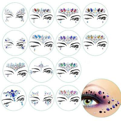 DIY  Eyebrow Face Body Art Adhesive Crystal Glitter Jewels Festival Party W0I2
