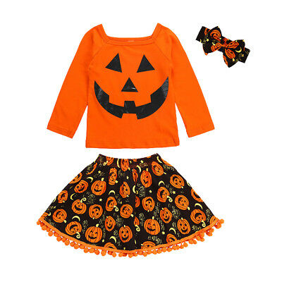 Girls Kids Toddler Baby Pumpkin Fancy Outfits Dress Up Headband Costume