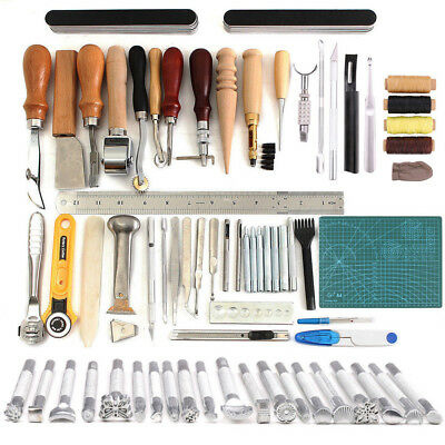 Professional Leather Craft Tools Leather Sewing Tools Set Carving Stamping Kits
