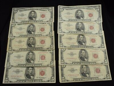 Lot of 10 $5 United States Note Red Seal (6) 1953B (2) 1963 (1) 1953A (1) 1953