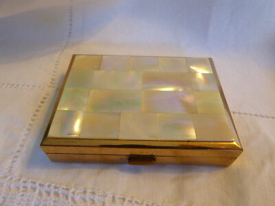 Rare Vintage Musical Powder Compact In Mother Of Pearl & Brass ~ By Carene