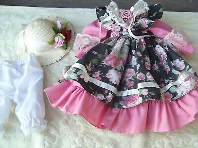 Alte Puppenkleidung Pink Flowery Dress Hat Outfit vintage Doll clothes 40cm Girl