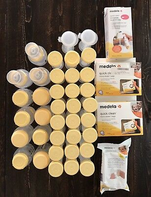 Medela Breast Milk Collection Storage Bottles Large Lot & Quick Clean Bags Soap