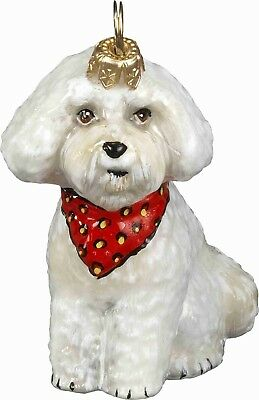 Bichon Frise Puppy with Bandana Polish Glass Christmas Ornament Decoration New