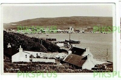 Old Postcard Scalloway Harbour Shetland Scotland Copland Real Photo 1920S