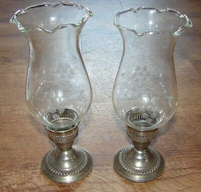 N. S. Co Sterling Weighted Hurricane Lamps Candlesticks Etched Glass