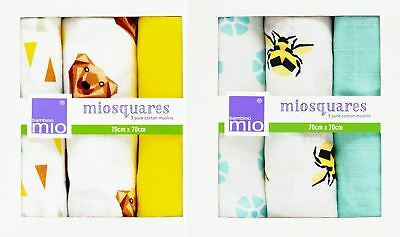 Bambino Mio MUSLIN MIOSQUARES 3 Pack Burpy Cloth Baby Feeding Blanket BN