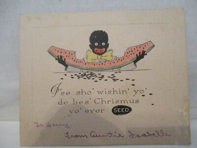 black memorabilia Chritmas postcard