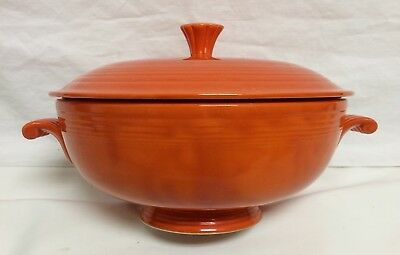 Vintage Fiesta Red Orange Footed Casserole Dish Bowl With Lid Display Piece