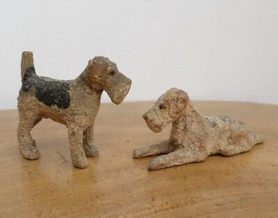 2 Antique Hand Carved,Painted Fox Terrier Dog Figurines - German, Black Forest?