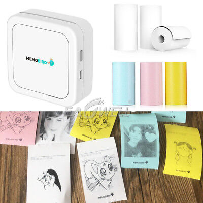 HOT MEMOBIRD GT1 Pocket Bluetooth Photo Label Printer & Thermal Paper Bundle LOT