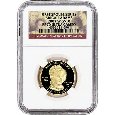 2007-W US First Spouse Gold 1/2 oz Proof $10 - Abigail Adams NGC PF70