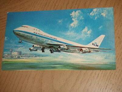 1970s KLM Airlines LARGE Postcard 747B Boeing Aircraft Royal Dutch Netherlands