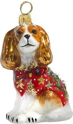 Blenheim Cavalier King Charles Spaniel in Ugly Christmas Sweater Polish Ornament