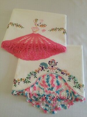 "Two Vintage""Southern Belle""Pillowcases Each Diff..Each w/ Hand Crocheted Dresses"